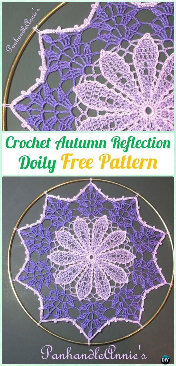 Crochet Autumn Reflection Doily Free Pattern - #Crochet; #Doily Free Patterns