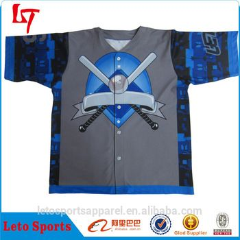 Button Down Custom Wholesale sublimation printed baseball jerseys wholesales dry fit Sublimated custom Baseball Jersey