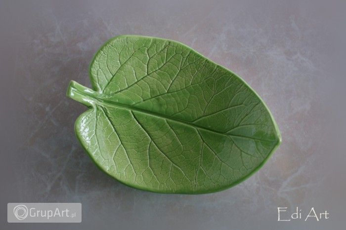 Zielony listek ceramiczny - Wnętrze - Ceramika - Grupart.pl