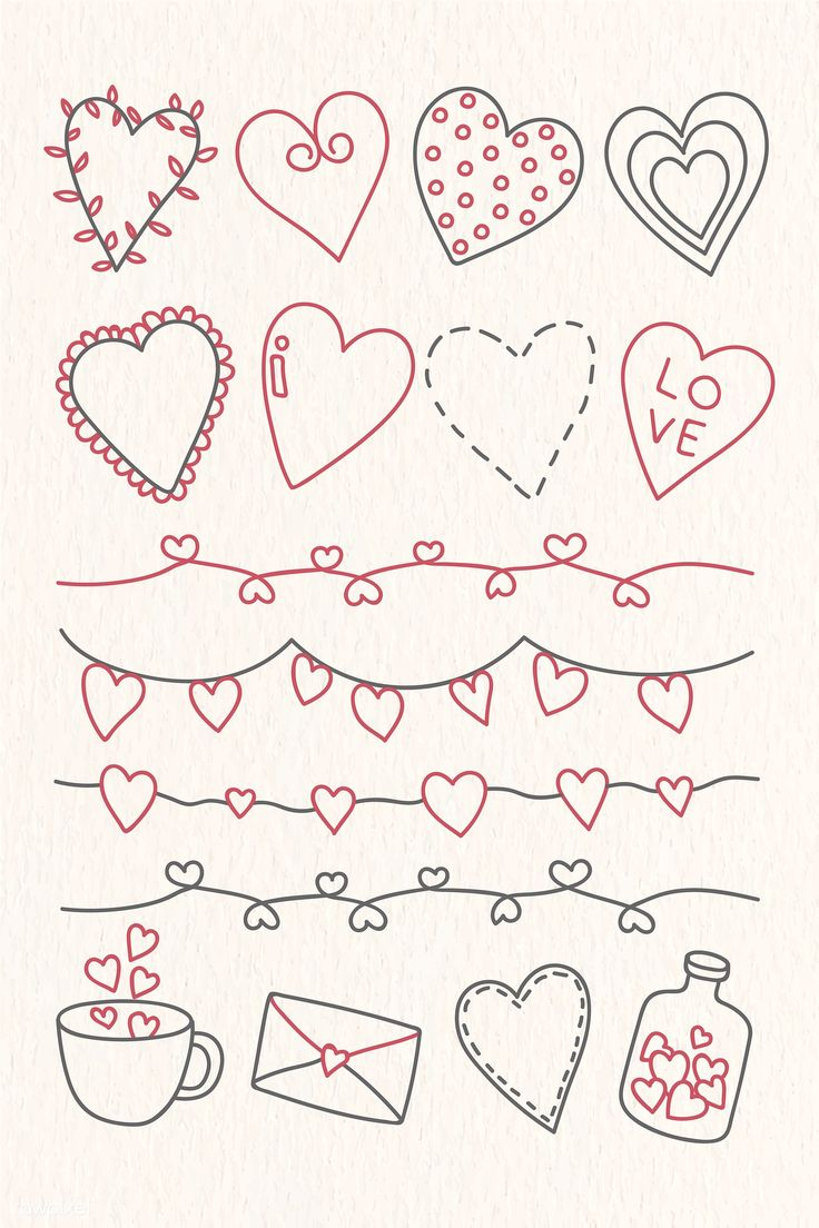 valentines drawn valentine drawings doodles doodle heart premium rawpixel printable drawing easy coloring him cards template