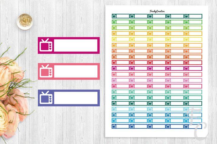 Printable Movie Stickers/TV Planner Stickers/Printable Planner Stickers/Instant Digital Download/ECLP/Kikki-k/Filofax/Plum Planner by freakycreation on Etsy