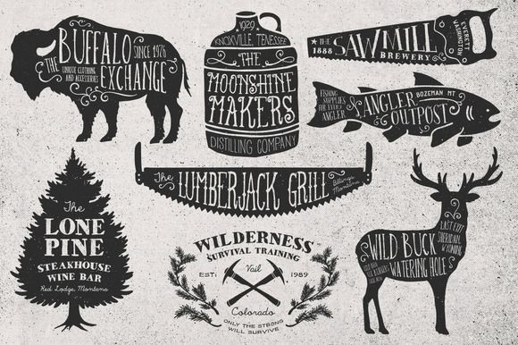 Rustic, woodland images and icons.  Lumberjack, forest, deer, fish and saws. Would be awesome for cottages and camping!!