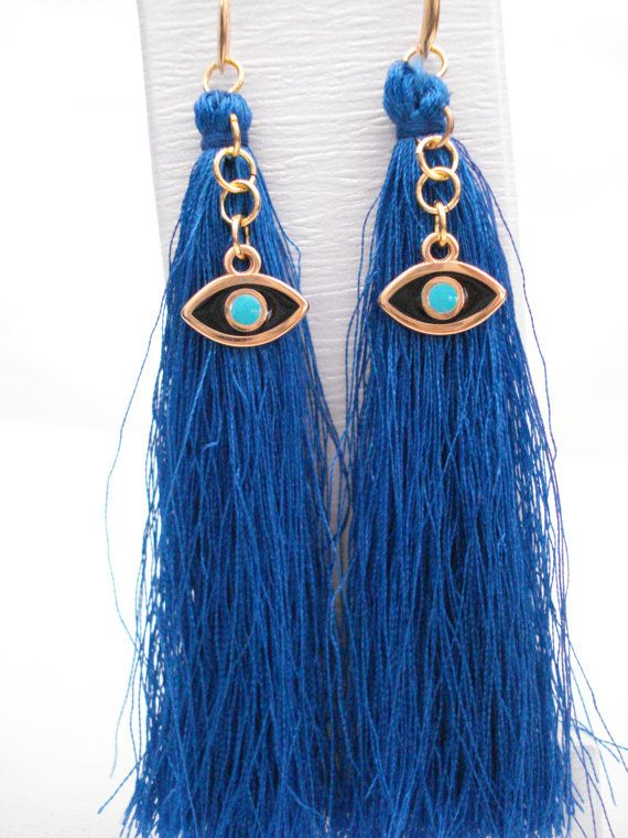 Sapphire tassel eye earrings Protection earrings Gold by Poppyg