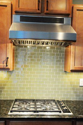 Green Glass Tile Kitchen Backsplash - The Polkadot Chair