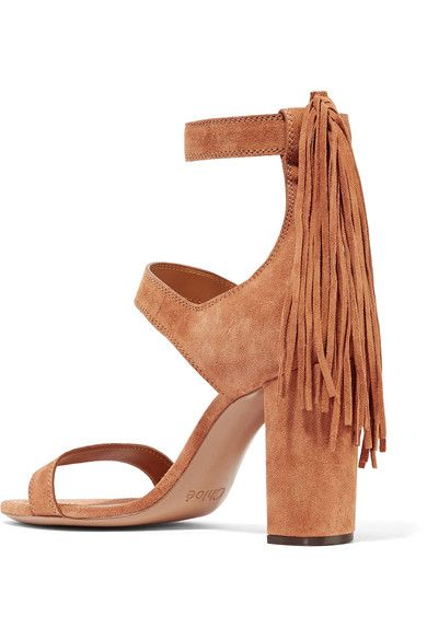 Chloé - Fringe-trimmed Suede Sandals - Tan - IT
