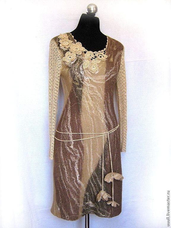 """Купить Платье """"Кофейный десерт"""" - платье, одежда, платье коктейльное, платье вечернее, платье крючком"""