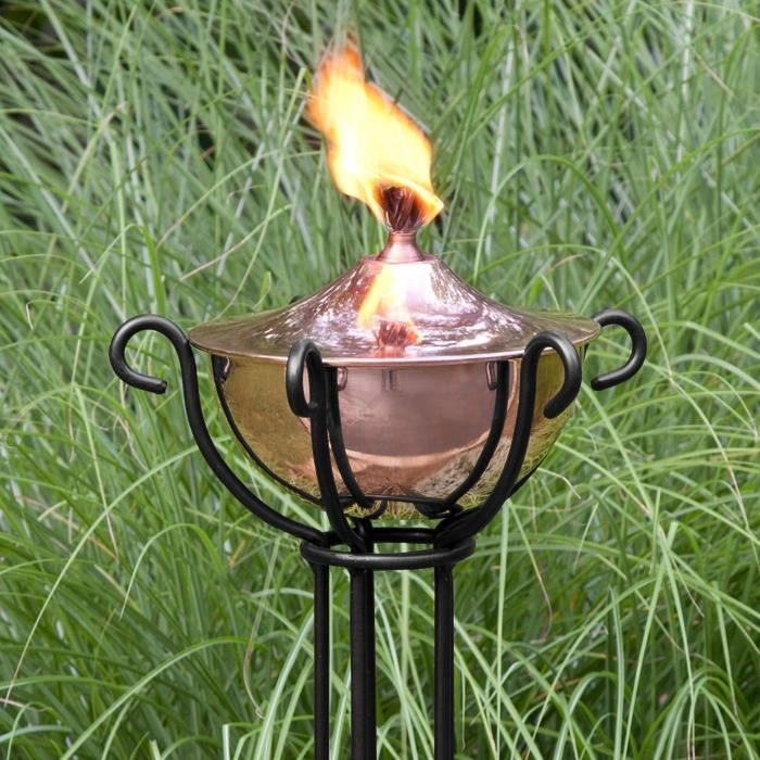 Artisan Copper Garden Torch with Trellis Floor Stand - Polished Copper