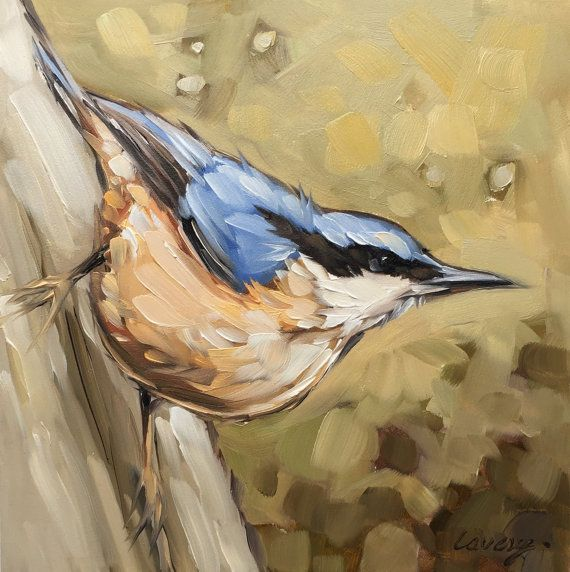 Nuthatch bird painting Original oil painting of a by LaveryART