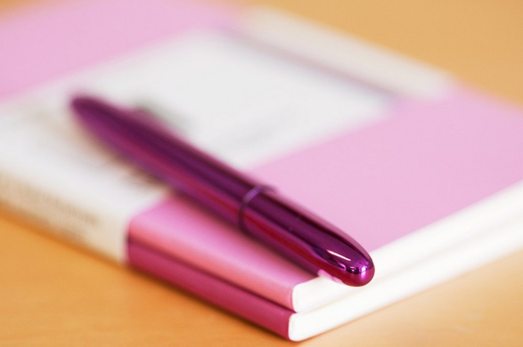 The fuchsia pink Fisher Space Pen - writes anywhere (underwater, on the moon...) and is bright enough you won't lose it.