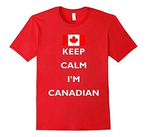 Men's Keep Calm I'm Canadian Funny National Canada Day T-shirt Large Red