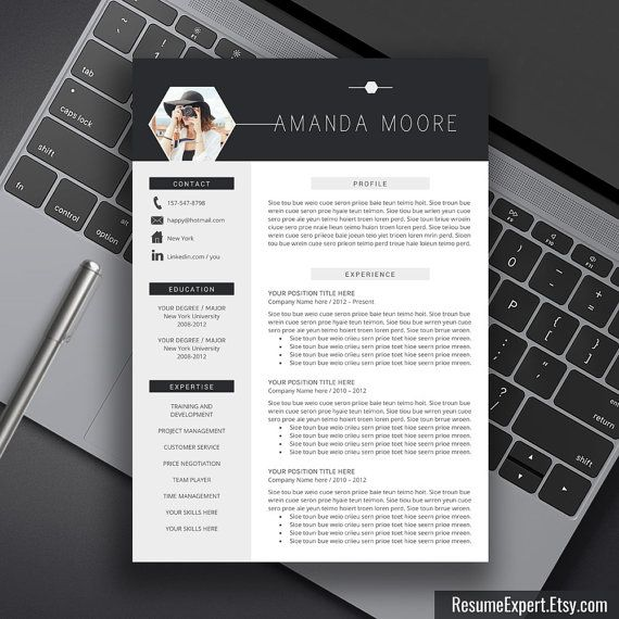 Resume Template, CV Template Word, Instant Download, Cover Letter, Professional…