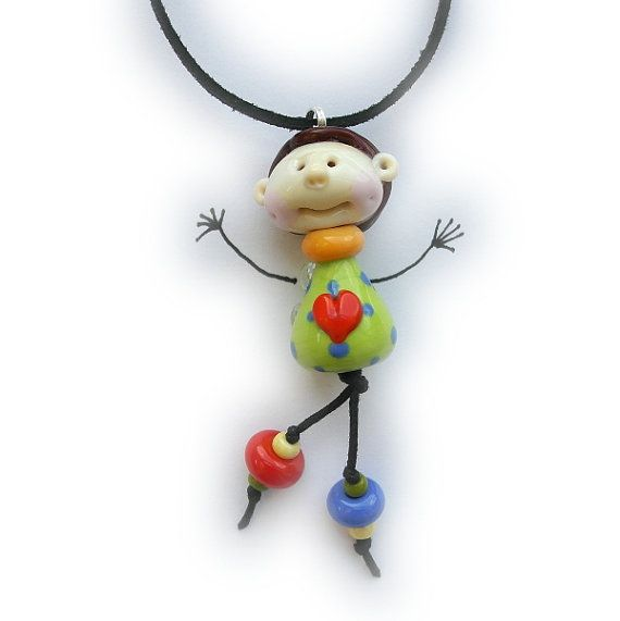 Doll face Angel necklace Lime green Lampwork glass bead by Eniya, $26.00