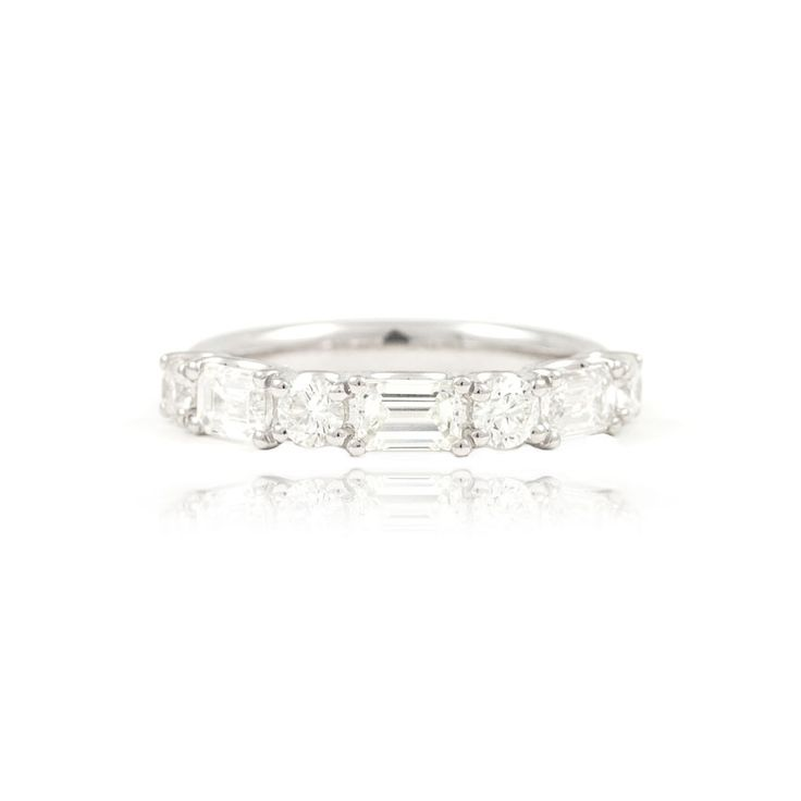 The Paul Sheeran Eternity ring collection | New Arrivals | Gorgeous Seven Stone Round and Emerald Cut Diamond Eternity Ring.