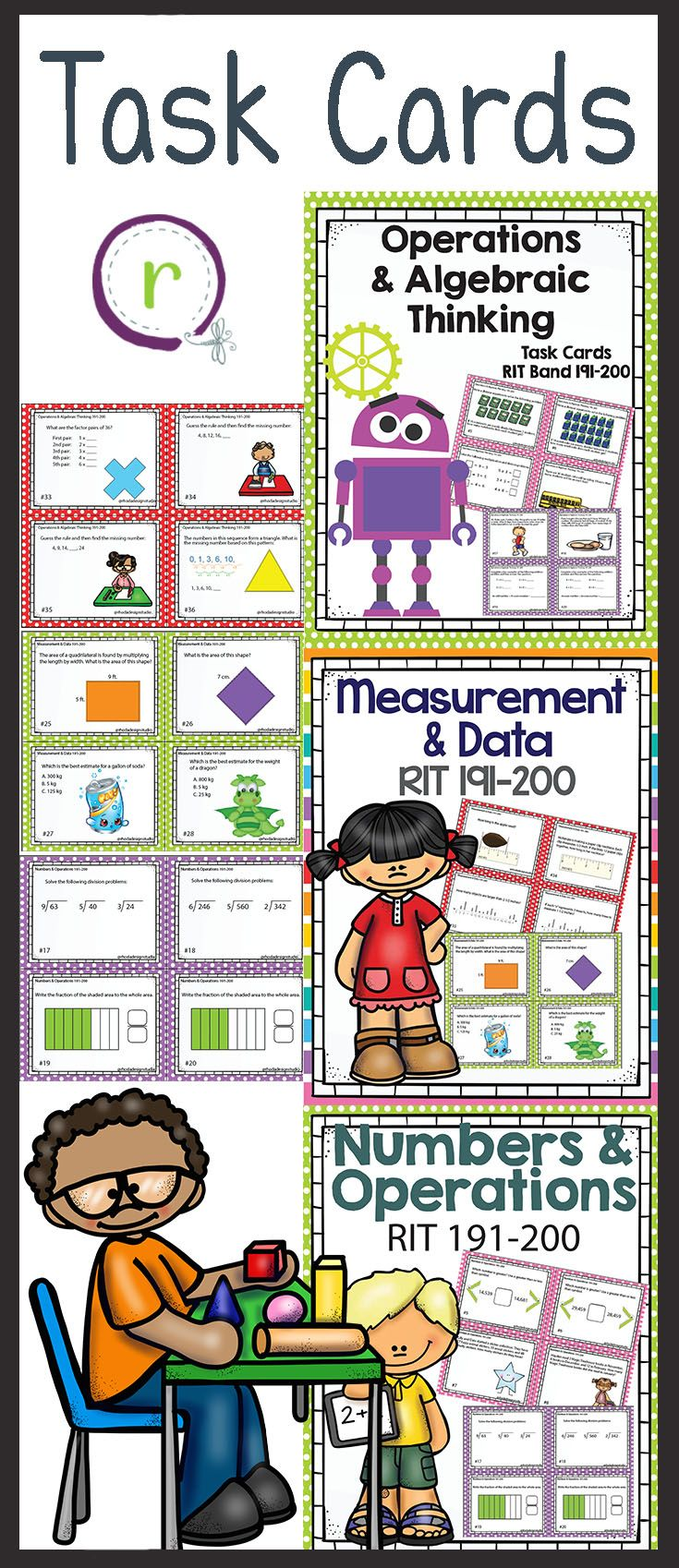 These task cards cover the skills for the NWEA RIT Band 191-200: Operations and Algebraic Thinking, Numbers and Operations, and Measurement and Data.   These math task cards can be used as review, independent centers, or to assess skills that your students need to master.  Even if your school doesn't use MAP testing, these task cards make great review, practice and interventions for 2nd and 3rd grade or remedial practice for 4th grade.