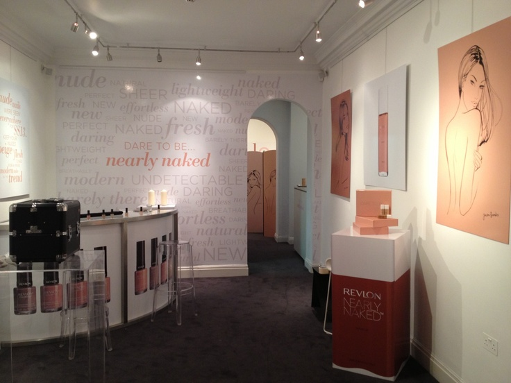 The fully designed space for the Revlon pop-up press event.