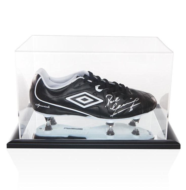 Paul Gascoigne Hand Signed Black Umbro Football Boot With Acrylic Display Case