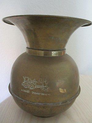 Vtg Brass Union Pacific Railroad Cuspidor Spittoon Bucket Weighted Bottom Patina
