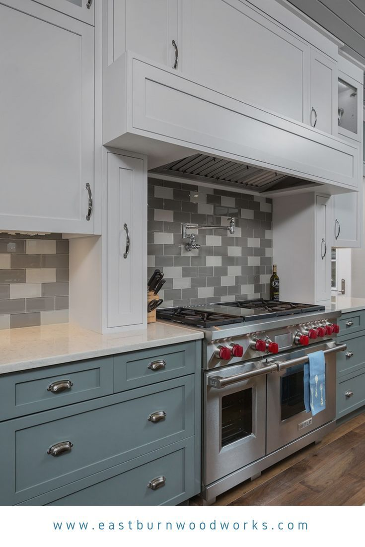 Pleasing White And Blue Kitchen Cabinetry With Shaker Panel Doors And Download Free Architecture Designs Jebrpmadebymaigaardcom
