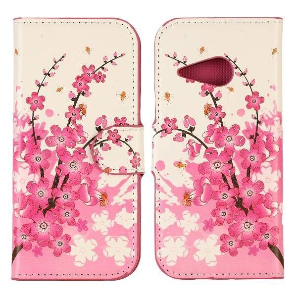 Roze bloesem booktype hoesje voor HTC One Mini 2