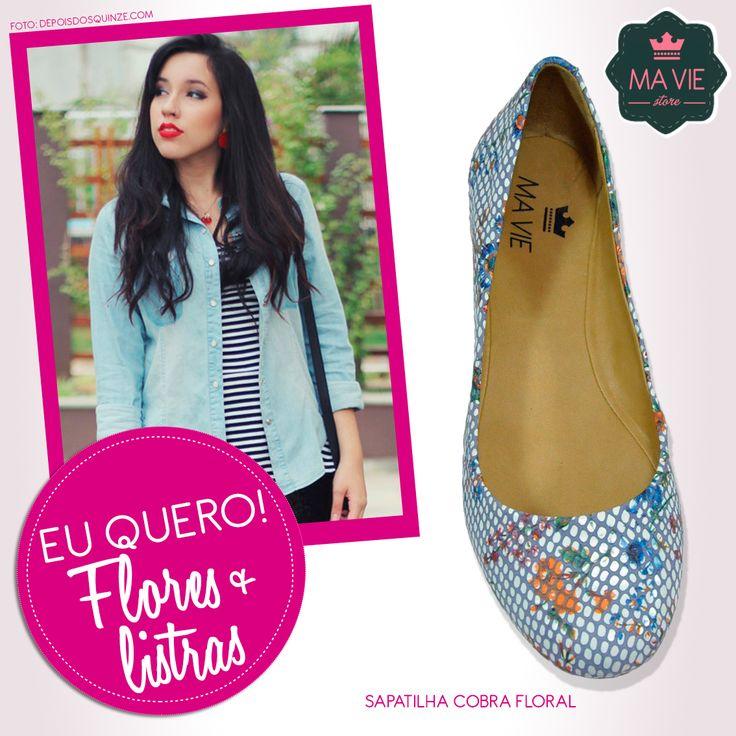 Estampa floral + listras = ♥  Sapatilha: http://www.maviestore.com/sapatos/sapatilha-cobra-floral.html