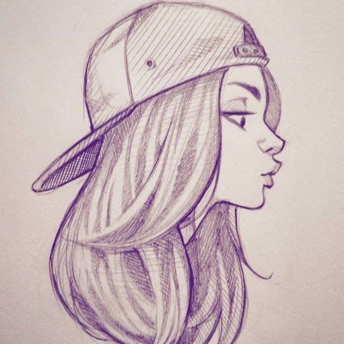 Girl Drawing Easy Sports Cap Long Wavy Hair Big Eyes White Background Full Lips In 2020 Girl Drawing Sketches Art Inspiration Drawing Black And White Drawing