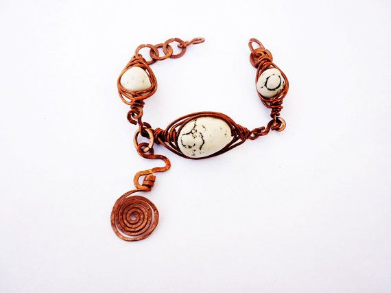 wire wrapped bracelet with agate natural by SHINEmagicJewellery