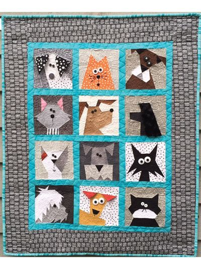 "This paper pieced pattern gives clear, concise directions to create the adorable cats and dogs shown. Each block measures 7"" x 7"". Need it larger? Just add an extra border and you will have a perfect sized lap quilt. Finished size is 32&quo..."
