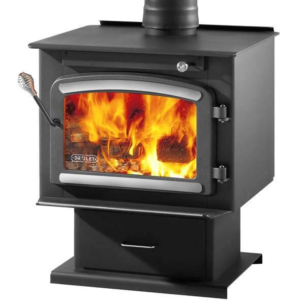 Free log splitter with purchase drolet classic high for Most efficient small wood burning stove
