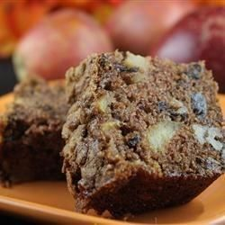 A wonderful loaf cake that is chock full of apples. It also contains raisins and nuts.