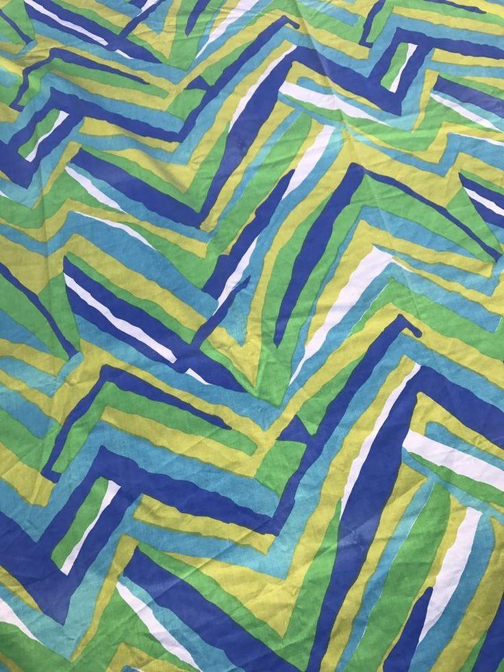 Vintage Sheet Full Flat Cannon Blue Green Geometric Bedding Fabric Bedding