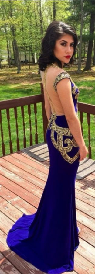 New Long Royal Blue Prom Dresses With Sheer Back Sequins Teen Party Dress Vestidos Para Formaturas Formal Gowns
