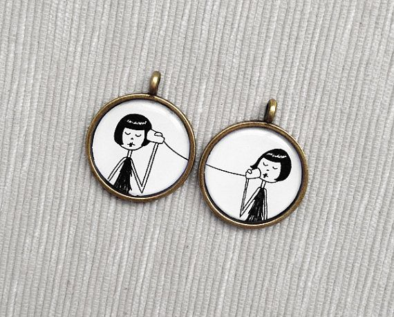 BFF Best Friend friendship pendant set by flapperdoodle on Etsy