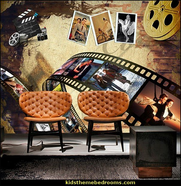 Cinema Mural Wallpapers Movie Themed Bedrooms Home Theater Design Ideas Hollywood Style Decor Movie Decor Movie Theater Decor Movie Decor Cinema Decor