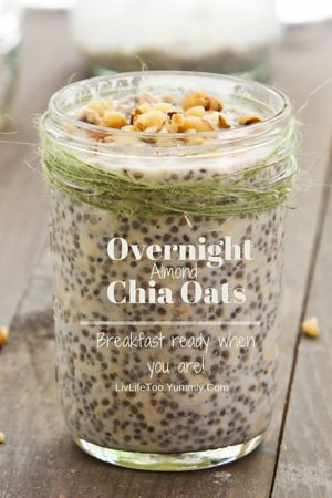 Overnight Almond Oatmeal with Chia and Maple Syrup | Liv Life My new obsession!! Love these almond oats... and I love the chia texture! @livlifetoo #overnightoats