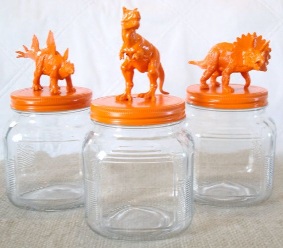 DIY containers with plastic animals from the dollar store. Maybe not with animals...