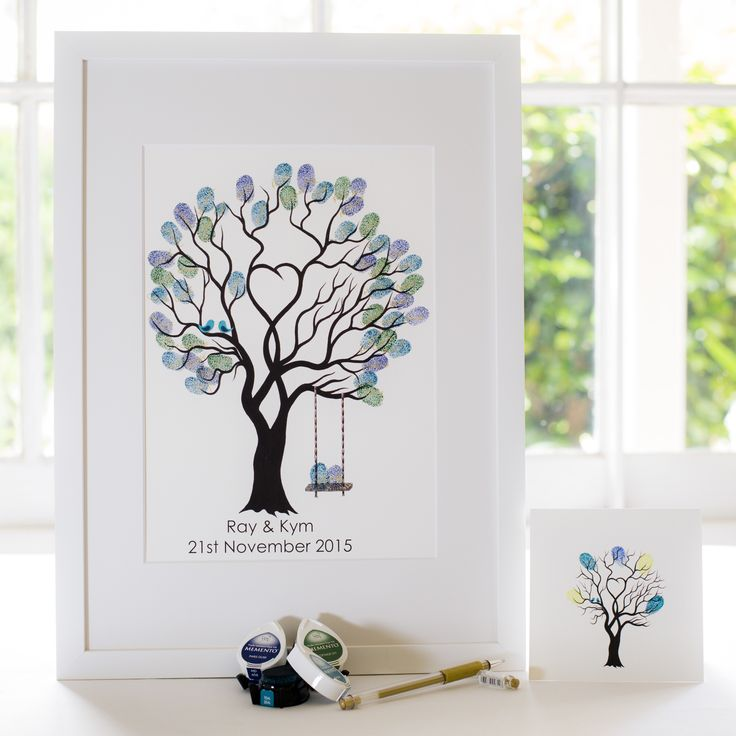 Unity Tree + swing - Teal birds guest book for Wedding, funeral or other celebration. Illustrated by Ray Carter - The Fingerprint Tree® Made-to-order, ships worldwide. The Fingerprint Tree®, bespoke gifts you'll treasure!