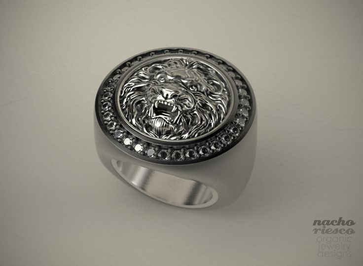 Lion Relief Ring, sculpted in ZBrush, rendered in KeyShot by Nacho Riesco.