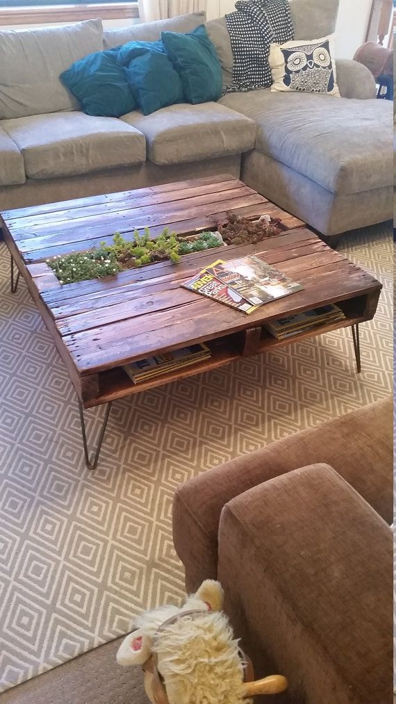 Pallet Coffee Table w/Built In Removable Planter Box by SucculentWoodShop https://www.etsy.com/shop/SucculentWoodShop?ref=hdr_shop_menu