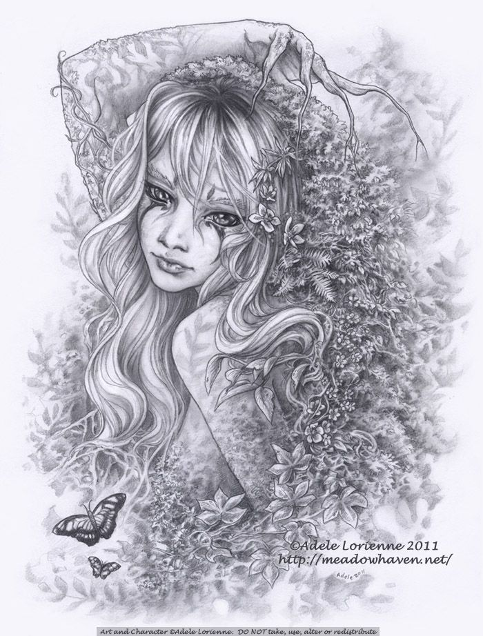 Beautiful Memory by Adele Lorienne Fairy Myth Mythical Mystical Legend Elf Fairy Fae Wings Fantasy Elves Faries Sprite Nymph Pixie Faeries Hadas Enchantment Forest Whimsical Whimsey Mischievous Coloring pages colouring adult detailed advanced printable Kleuren voor volwassenen coloriage pour adulte anti-stress kleurplaat voor volwassenen Line Art Black and White