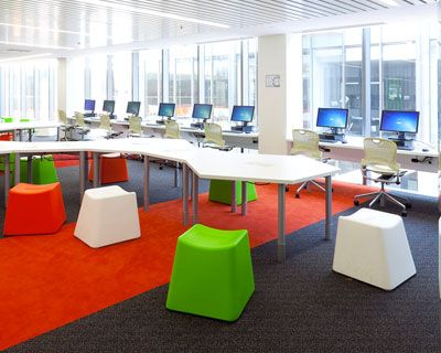 Interesting tables and chairs for a classroom, library, or computer lab.