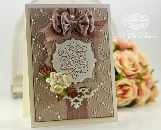 Justrite Papercrafts - Grand Birthday Sentiments Clear Stamps.  Designed by Becca Feeken using Spellbinders Antique Frames and Accents, Spellbinders Labels Sixteen, Spellbinders Gold Squares One, Spellbinders Labels Thirty Two, Spellbinders Garden Lattice