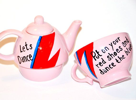 David+Bowie+inspired+Handpainted+Teapot++Lets+Dance+by+OwlandBrew,+£39.00