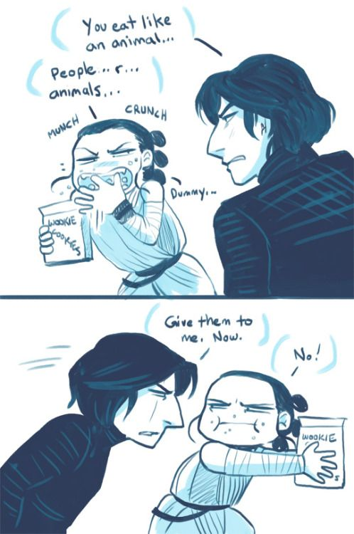 om-nom-berries Rey won't share her wookie cookies with just anyone (especially if you don't ask nicely). Headcanon: Rey talks while she eats. A lot.