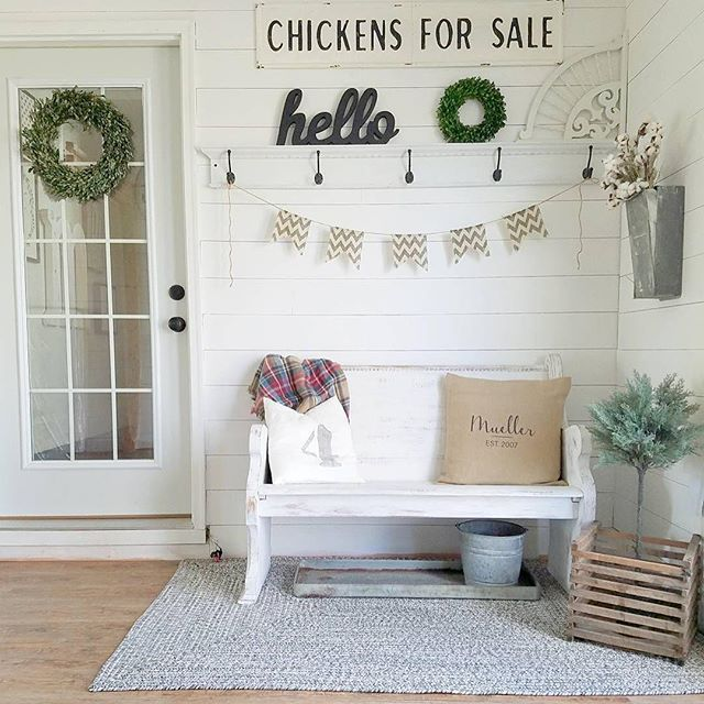 # @our_forever_farmhouse Come on in and sit down! Hang up your jacket. Enjoy the moment, soak in the beauty of the day. Then check out the decor in this bright, white, playfully styled entry nook. We love your creative wall decor above the bench. Our Chickens For Sale sign fits right in! Thank for sharing your space with us.⠀ ⠀ #myafh #antiquefarmhouse #farmhouse #farmhousechic #farmhousestyle #farmhousedecor #farmhousehappy #farmhouseliving #vintagestyle #vintageinspired #diydecor…