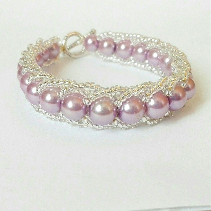 #etsy shop: Bracciale di perle rosa intrecciato con ...