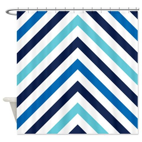 Chevron shower curtain navy dazzling blue aqua white for Blue and white striped bathroom accessories