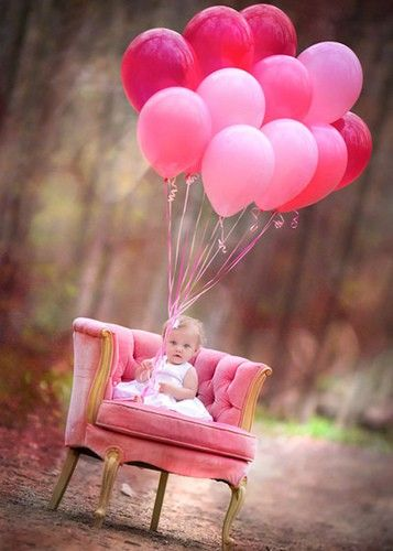 1st birthday pic idea... For a little girl, pink balloons and a stylish chair ) set in an unconventional setting make for a memorable photo. Tweak it up for the holidays - funky photos are great, and inexpensive, holiday gifts!
