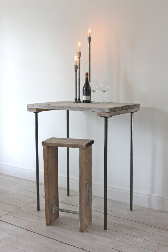Reclaimed Scaffolding Boards and Graphite Steel Pipe Bar Table - Bespoke Industrial Furniture Design by www.inspiritdeco.com