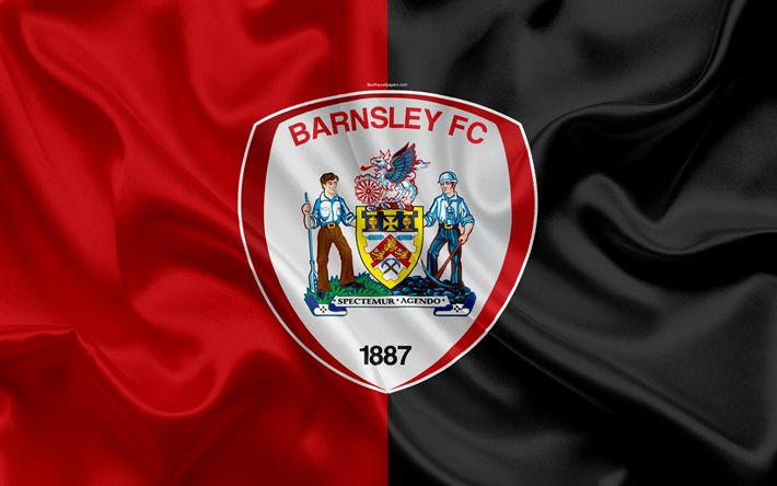 Download wallpapers Barnsley FC, silk flag, Football League Championship, emblem, logo, 4k, Barnsley, UK, English football club, Second League, football
