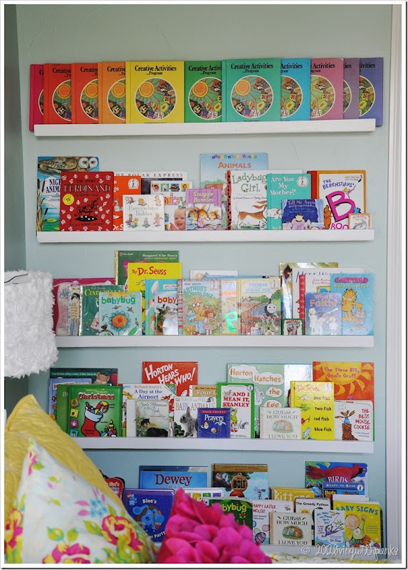 I LOVE these!  We made a few similar shelves in the girls' room a year or so ago - wanting to rearrange rooms, I'm looking for new ideas - not sure the shelves we put up in the old room will work (measurements and all) in the one I'm transferring to.